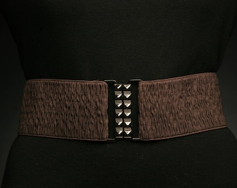 Elastic Chocolate Brown Crinkled Belt