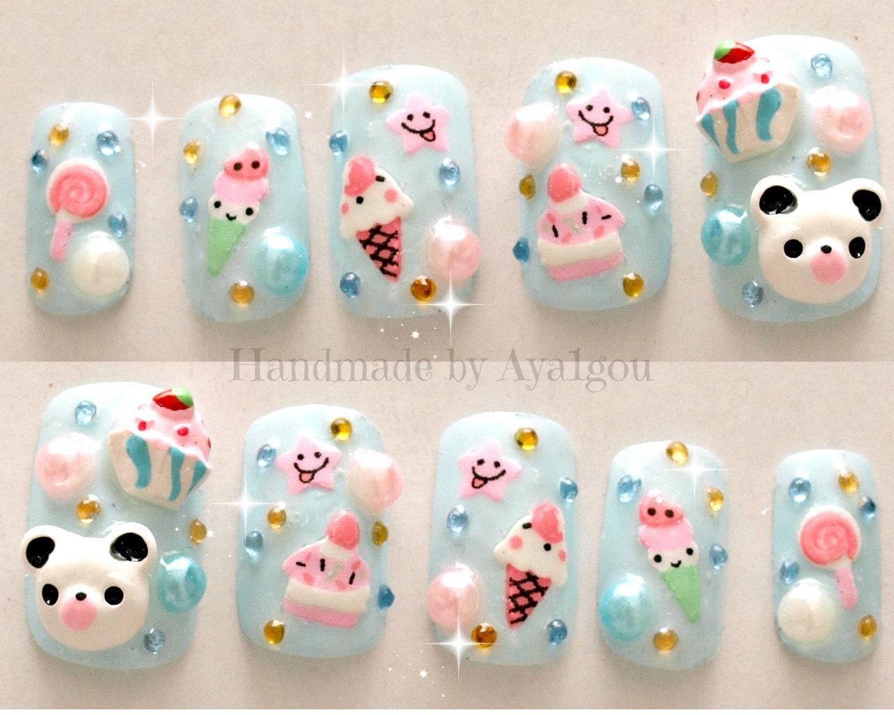Kawaii nails kuma 3D nails Japanese nail art summer