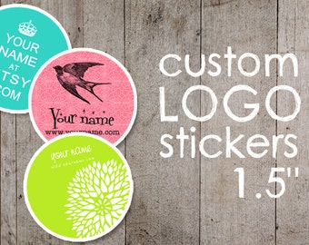 """Custom Stickers  Custom Labels  Product Labels  Return Address Labels  Wedding Stickers  Personalized Stickers  - 1.5"""" - YOUR LOGO"""