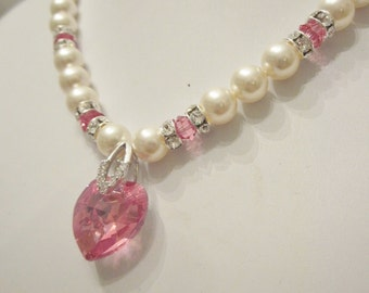 Swarovski Pearl and Crystal Necklace - Swarovski Pearls and Rose Pink Crystal Heart - Weddings, Brides, Bridesmaids