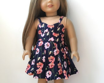 """Floral pleated sweetheart dress for 18"""" dolls"""