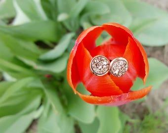 Rose Gold Druzy Earrings - Druzy Jewelry - Druzy Stud Earrings - Rose Gold - Bridesmaid Gift - Bridesmaid Earrings- Faux Druzy- Mother's Day