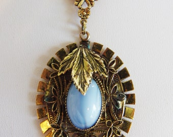 Vintage 1930's Art Deco Blue Pendant Necklace | Vintage Brass & Glass Jewelry | Art Deco Brass Necklace | Gift Jewelry for Her