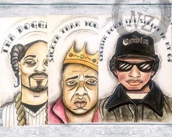 Rapper art Print set // Rapper Hall of Fame Collection // Snoop Dogg // Eazy-E // Biggie // quote art print