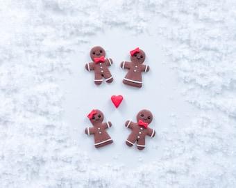 Christmas Gingerbread Man Stud Earrings - Handmade Polymer Clay