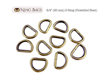 "Set of 12 // 3/4"" (20 mm) D-Rings, High Quality Unwelded D-Rings for Bags, Purses, Totes / Bag Hardware  (Brushed Antique Brass)"