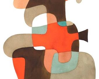 Grande créature moderne Art print Art abstrait Mid Century tirage poster moderniste bleu orange gris-brun 13 x 19