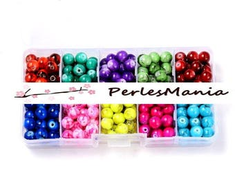 Essentials: Box 240 VEINEE MULTICOLOR 8mm HX110001 effect glass beads