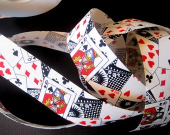 "Poker Cotton Ribbon Trim, Playing Cards, Multicolor, 1 3/8"" inch wide, 1 yard, For Mixed Media, Scrapbook, Home Decor, Accessories"