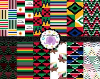 Kwanzaa Digital Papers, Kwanzaa Scrapbook Paper, Kwanzaa Digital Background, Instant Download, Commercial Use