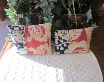 Primitive Pair Of Antique Coverlet Pillows, Navy, Red, Mustard