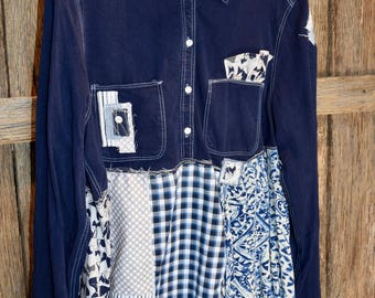 Upcycled clothing/ Wearable art/ Boho/ Eco chic/ Artsy/ patchwork/ tunic/ Funky/ Fox/