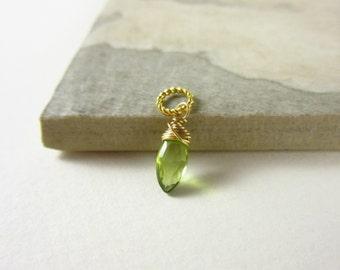 Tiny Charms - M - Peridot Gemstone Jewelry - August Birthstone Jewelry - Peridot Birthstone Charm - 14k Gold Charms - Peridot Jewelry
