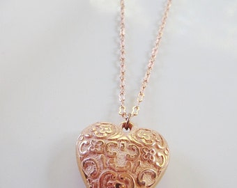 Rose Gold Heart Necklace, Embossed Heart, Copper Pendant, Bridesmaid Gift,  Modern, Gift for Her, Redpeonycreations