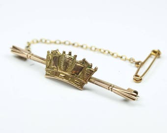Vintage Edwardian Style 9ct Rose Gold Crown Bar Pin Brooch