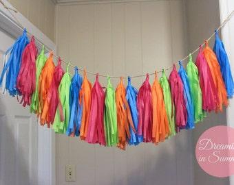 Summer Days Tissue Paper Tassel Garland, Bright Colored Tissue Paper Garland, Summery Tissue Paper Garland