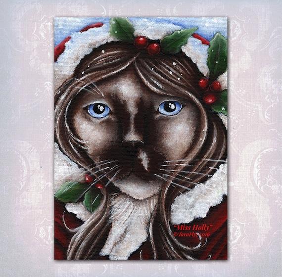 Holly Christmas Cat 5x7 Fine Art Print