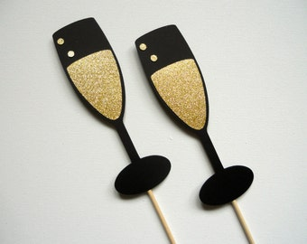 Glitter Champagne Glass Photo Booth Props . Champagne Photo Booth Props . Champagne Glasses . Champagne Flutes . Cocktails . Set of 2