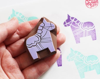 dala horse rubber stamp | swedish animal stamp | diy folktale birthday baby shower card making | gift wrapping | hand carved by talktothesun