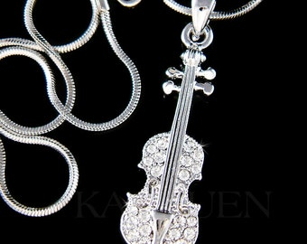 Swarovski Crystal Dainty Violin Viola Cello Fiddle Musical Charm Pendant Chain Necklace Jewelry Christimas Best Friend BFF Musican Gift  New