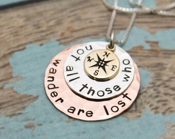 Sterling Silver Copper and Bronze Disc Necklace Not All Those Who Wander Are Lost Compass Hand Stamped Jewelry