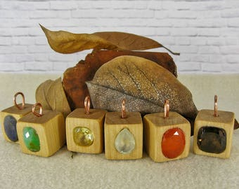 Wood Cube Rustic Gemstone Casual Pendants