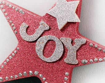 Joy Star Ornament, Red Glitter Star, Christmas Ornament, Joy Letter Ornament, Tree Ornament, Holiday Decor, Tree Decoration, Christmas Decor
