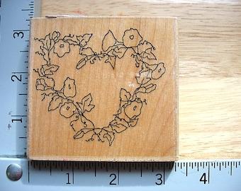 Printworks Annette Watkins Morning Glory Heart Wreath DESTASH Rubber Stamps, Used Rubberstamp, floral vine heart wreath