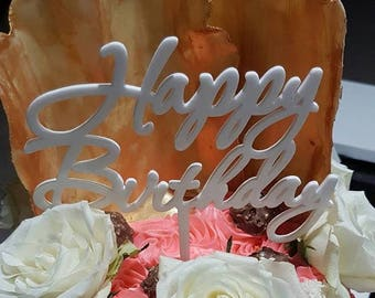 Happy Birthday Cake Topper available in range of acrylic colours or timber