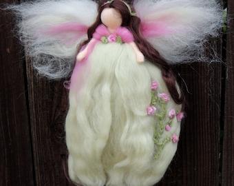 Morning Dew Garden Blessing Fairy-  Needle felted wool fairy angel Waldorf inspired creation by Rebecca Varon aka Nushkie