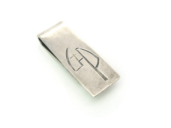 Vintage Monogrammed Sterling Silver Money Clip. Handmade Chiseled Initials GP.  1970s Handwrought Jewelry by C Leslie Smith, 22.1g
