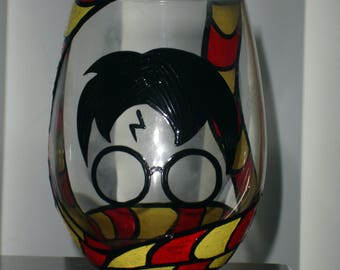 Hand painted Harry Potter wine glass