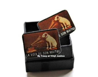 French HIs Masters Voice cuff links. Hand cut from pre-loved classical records