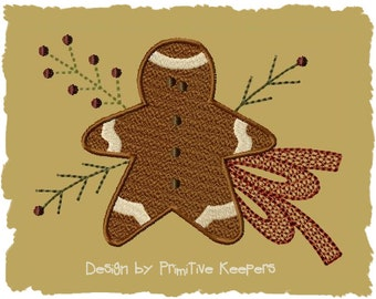 Primitive Machine Embroidery Design-Gingerbread Man--Version 1-- (5 x 7)--INSTANT DOWNLOAD