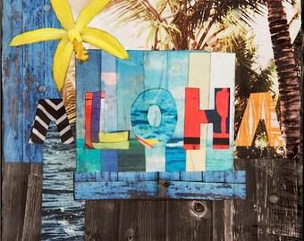 Giclee, ALOHA, Hawaii, 8x8 and Up, North Shore, Orchid, Palms, Wave, Hawaii, Beach, Wall Art, Ocean Art, Love, Sea, Beach Art