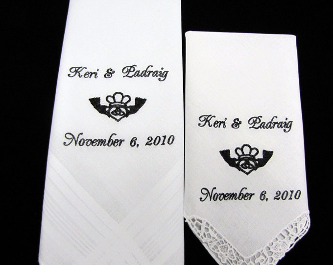 Irish Claddagh Symbol Personalized Wedding Handkerchiefs