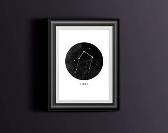 Libra wall decor, Horoscope wall art, Libra gift idea, Libra Horoscope print, Libra wall art, Libra star sign constellation print, Star art