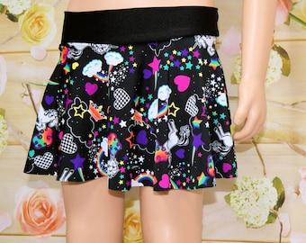 Neon Rainbow Unicorn Circle Twirl Skirt Child ALL Sizes - MTCoffinz