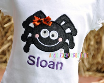 Personalized Sparkle Spider with Bow Halloween Girls Ruffle Shirt