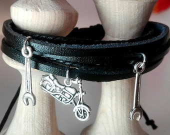 Leather bracelet with motorcycle and wrench