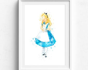 Alice print, alice poster, alice in wonderland, alice decor, alice illustration, alice wonderland art, disney alice, princess alice wall art