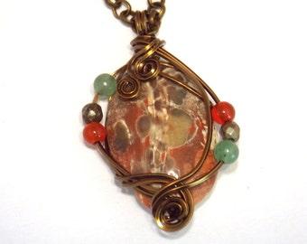 Bronze Pendant Necklace Stone Necklace Bohemian Necklace Boho Pendant Wire Wrapped Pendant