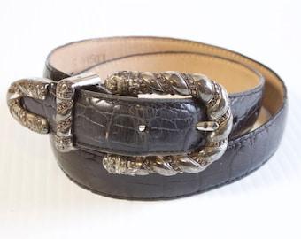 Vintage Brighton Black Leather Belt size small