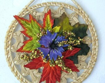 Autumn Leaves Wreath, Fall Wall Decor, Wicker Trivet Rustic Garden Cottage Decor Wall Hanging Silk Arrangement Fall Decoration