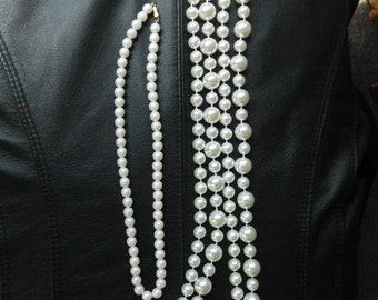 Flapper Necklace Pearls  2 Pearl Necklace   Vintage Faux Pearl Necklace  Pearl Jewelry Vintage Flapper Jewelry