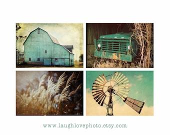 Aqua Country Farmhouse Prints, Barn Windmill Wheat Truck Photos, Teal Turquoise Brown Cream Rustic Fixer Upper Style Home Decor Wall Art