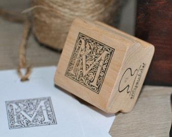Letter M Rubber Stamp, Monogram M stamp, Wood Mounted Rubber Stamp, Alphabet letter M stamp