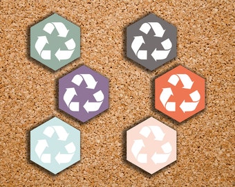 90 MEDIUM Recycling Hexagons Stickers for 2017 Inkwell Press Planners IWP-S51