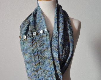 Button Up Chevron Scarf/Cowl - Hand Knit In Soft Blue Merino Wool With Gold Tones, Purples, Darker Blue. Shell Buttons - Luxury Winter Cowl