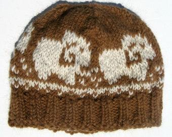 Knit Alpaca Hat Men or Women, Fair Isle Cap, Sheep Beanie